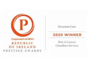Winner of the Republic of Ireland Prestige Awards 2020 for Best in Luxury Chauffeur Services