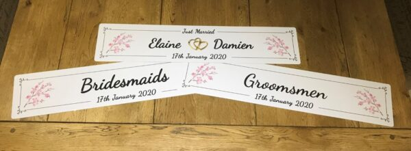 Set - Bride, Groom, Bridesmaids, and Groomsmen Personalised Number Plates - Occasion Cars